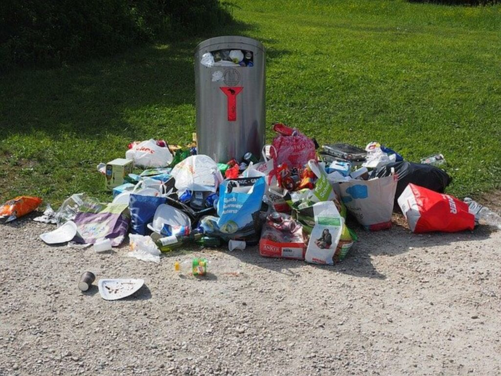 Müllansammlung um Abfalleimer