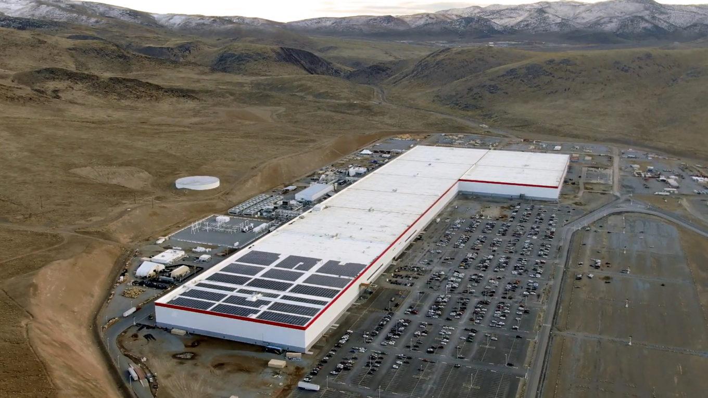 Blick aus der Vogelperspektive aus Teslas Gigafactory 1 in Nevada