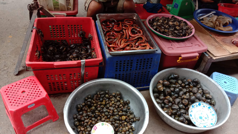Verkaufsstand auf einem Markt in Kambodscha