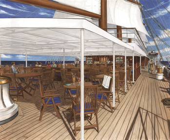 Computersimulation des Oberdecks der Sea Cloud Spirit