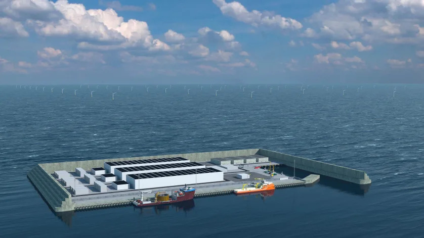 Animation der Energie-Insel in der Nordsee
