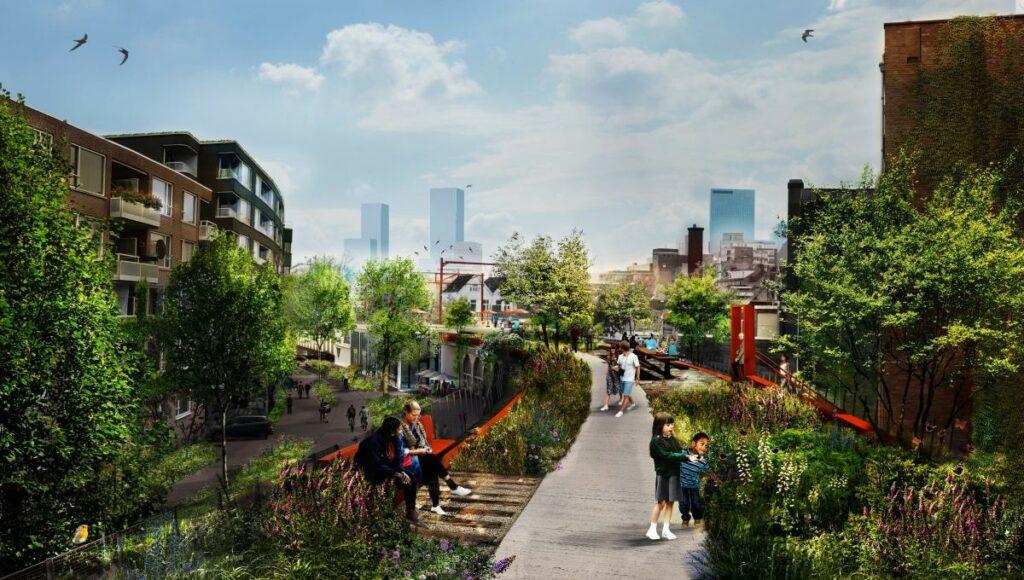 Kinder und Spaziergänger in Rotterdams geplantem grünen Gartenzug auf einem ausgedienten Eisenbahnviadukt