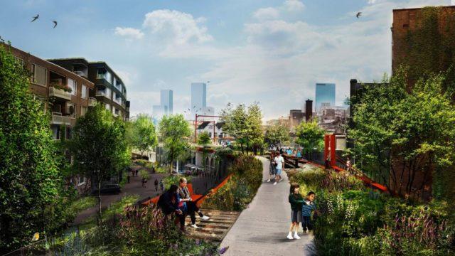 geplanter Grünzug auf altem Eisenbahnviadukt in Rotterdam