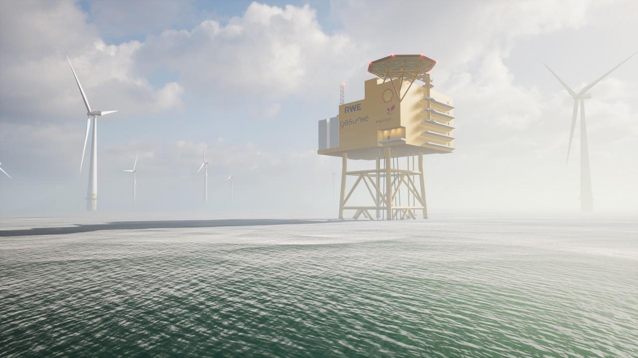 Windpark mit Wasserstoff-Anlage auf hoher See